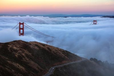 Amazing View From Slacker Hill Low Fog Over Bay Golden Gate Bridge San Francisco by Vincent James