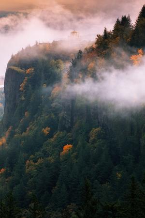 Amazing Vista House in Autumn Fog Mist Columbia River Gorge Oregon by Vincent James