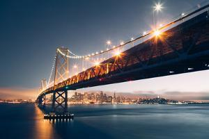 Bay Bridge Night Cityscape, San Francisco, California by Vincent James