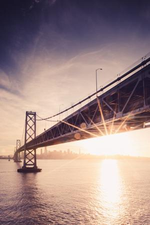 Bay Sunset Under Bay Bridge With Sun Star San Francisco Bay Area by Vincent James