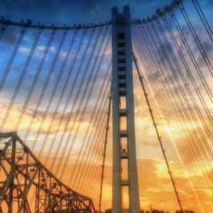 Beautiful Sunset Crossing Bay Bridge, Oakland by Vincent James