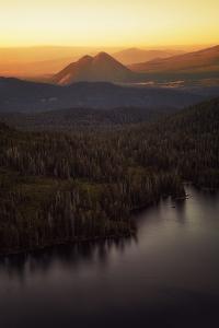 Black Butte in Orange Light, Castle Lake Overlook Mount Shasta Northern California by Vincent James