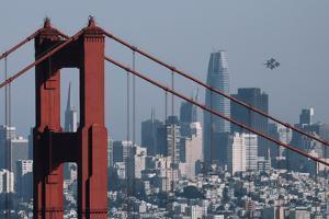 Blue Angels Arrive at Golden Gate Bridge, San Francisco by Vincent James