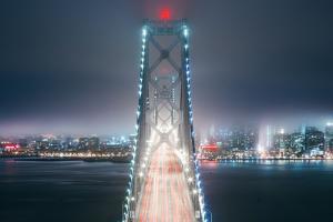 Blue City Bridge, Night View San Francisco California by Vincent James