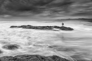 Blustery Coastal Seascape with Photographer, California by Vincent James