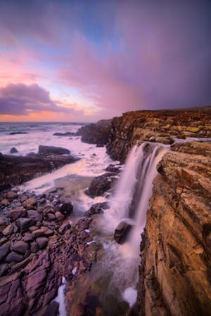 Blustery Phillips Gulch Waterfall at Sunset, Sonoma Coast, California by Vincent James