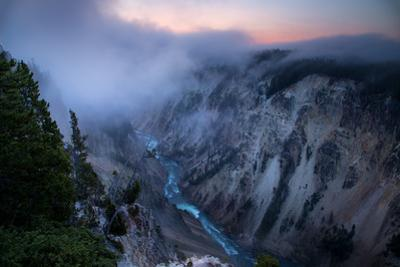 Canyon Sunrise with Relaxing Fog Flow Yellowstone River National Park Wyoming by Vincent James