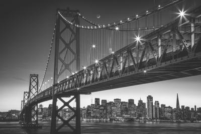 Classic San Francisco in Black and White, Bay Bridge at Night by Vincent James
