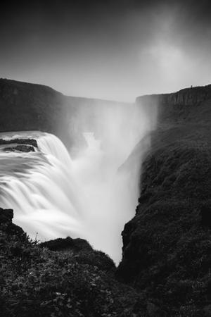 Dark Gullfoss Power & Midnight Magic Iceland Mystery Black White by Vincent James