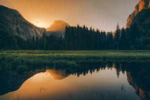 Day Burst Reflection at Half Dome, Yosemite National Park by Vincent James
