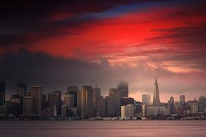 Deep Red Sunset Downtown San Francisco Bay Treasure Island by Vincent James