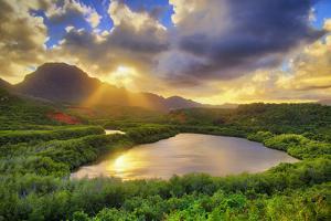 Dramatic Sunset at Kauai Fish Ponds, Hawaii by Vincent James