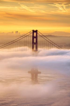 Dream State at Golden Gate Suspended Fog Around Tower San Francisco by Vincent James