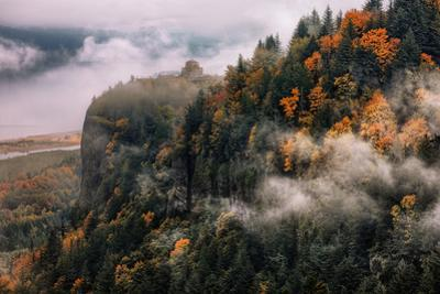 Dreamy Vista House in Autumn Fog Mist Columbia River Gorge Oregon by Vincent James