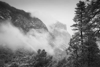 El Capitan Obscured in Blustery Snow Tunnel View Yosemite National Park by Vincent James
