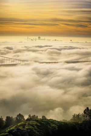 Everything Went Magical, Sunrise Fog Envelopes Golden Gate Bridge, San Francisco by Vincent James
