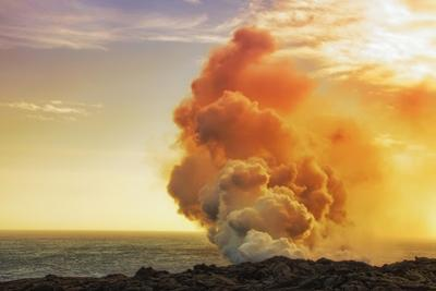 Exploregasm Hawaii Volcano Coast Steam at Sunset Big Island by Vincent James