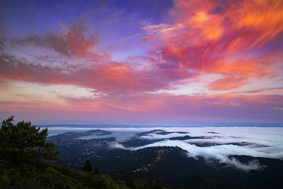 Explosive Summer Sunset with Fog Flow at Marin County Mount Tam, San Francisco by Vincent James