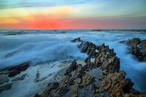 Fiery Sunset Seascape at Montaña de Oro, Morro Bay California Coast by Vincent James