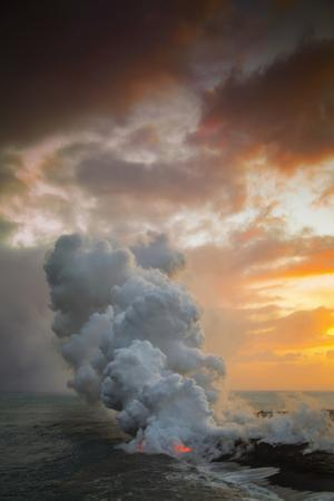 Fire Fury & Smoke on the Water Hawaii Big Island Volcano Sunset by Vincent James