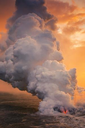 Fire & Smoke on the Water Hawaii Big Island Volcano Sunset by Vincent James