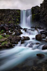 Flowing Waterfall Mood, Öxarárfoss, Iceland by Vincent James