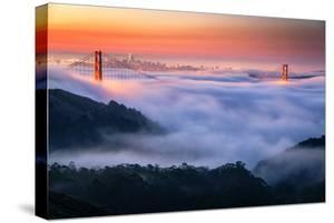 Fog Blankets at Twilight Sunrise Gold Over San Francisco Golden Gate Bridge by Vincent James