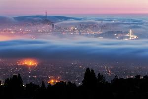 Fog City Swirl San Francisco Bay Cityscape Skyline From Oakland Hills by Vincent James