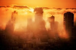 Fog Fire, Epic Light and Fog at San Francisco California by Vincent James