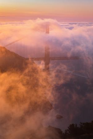 Fog & Light Engulfs Golden Gate Bridge with Boat Marin Headlands by Vincent James