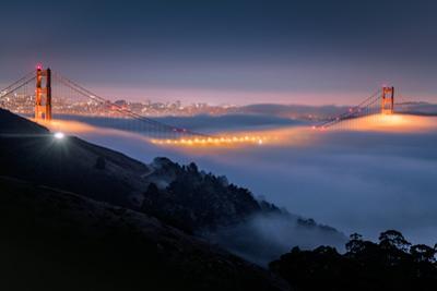 Fog Special at Twilight Sunrise Gold Over San Francisco Golden Gate Bridge by Vincent James