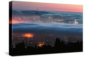 Fog Swarm Around San Francisco Oakland Bay Area Sunset Pink Blue by Vincent James