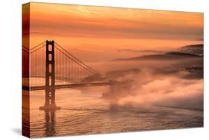 Fog Sweep at Golden Gate Bridge at Sunrise San Francisco Morning by Vincent James