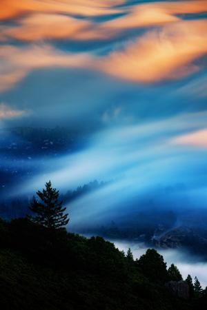 Fog Sweeps In at Mill Valley Sunset Light From Mount Tam San Francisco by Vincent James