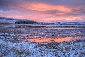 Frosty Sunset at Yellowstone River, Wyoming by Vincent James