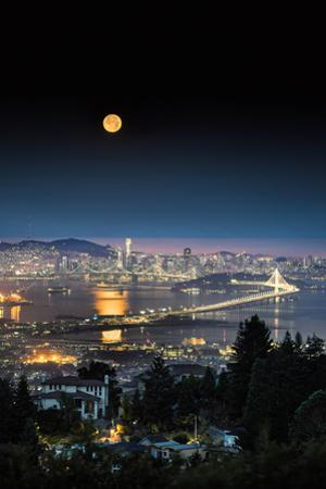 Full Moon Reflection in Bay Over San Francisco Bay Area Night City Urban by Vincent James