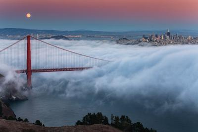 Full Moon Rising Over Golden Gate Bridge Low Fog and Mood San Francisco by Vincent James