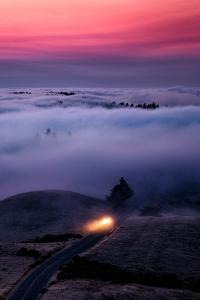 Get The Fog Out Headlights Through Sunset Fog at Mount Tamalpais San Francisco by Vincent James