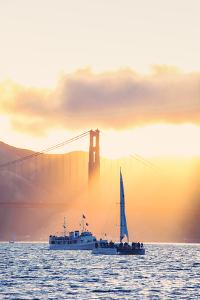 Golden Beams and Boats at Beautiful Golden Gate Bridge, San Francisco Bay by Vincent James