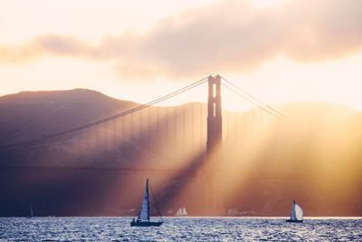 Golden Light Beams and Boats, Beautiful Golden Gate Bridge, San Francisco Bay by Vincent James