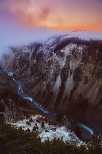 Grand Foggy Top Canyon at Sunrise Yellowstone Magic River Majestic by Vincent James