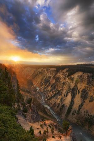 Grand Sunrise in The Canyon of the Yellowstone National Park Wyoming by Vincent James