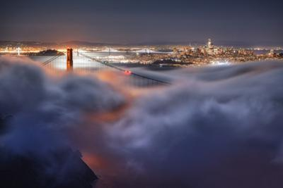 Harvest Moonlight Fog & City San Francisco Golden Gate Bridge by Vincent James