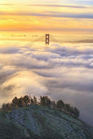 Heavenly Gate at Sunrise Low Fog Over San Francisco Marin Golden Gate Bridge by Vincent James
