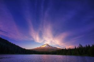 Hood Light, Magic Mood at Mount Hood, Trillium Lake, Oregon Portland by Vincent James