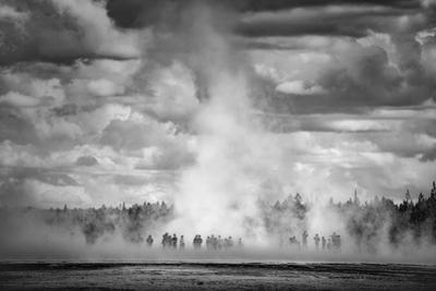 In The Spring Grand Prismatic Black White Yellowstone National Park by Vincent James