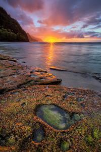 Kauai Sunset at Ke'e Beach, Na Pali Coast, Hawaii by Vincent James