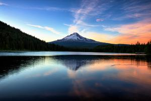 Late Sunset Reflection and Clouds at Trillium Lake, Mount Hood Oregon by Vincent James