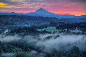 Light Fog at Sunrise from Jonsrud Point, Mount Hood Oregon by Vincent James