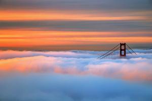 Magic Sunrise Light Fog Golden Gate Smoky Orange Skies San Francisco by Vincent James